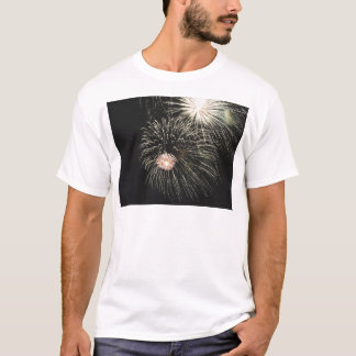 Colorful fireworks of various colors light up the T-Shirt