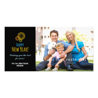 Colorful Fireworks on Black, Happy New Year Photo Card