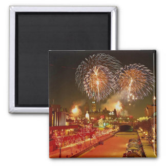 Colorful fireworks on New Year's Eve Refrigerator Magnet