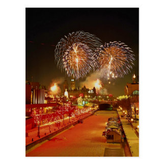 Colorful fireworks on New Year's Eve Postcard
