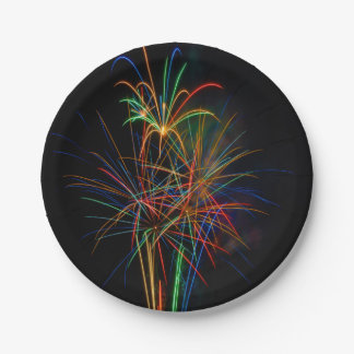 Colorful fireworks paper plate