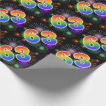 """[ Thumbnail: Colorful Fireworks + Rainbow Pattern """"63"""" Event # Wrapping Paper ]"""