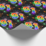 """[ Thumbnail: Colorful Fireworks + Rainbow Pattern """"91"""" Event # Wrapping Paper ]"""