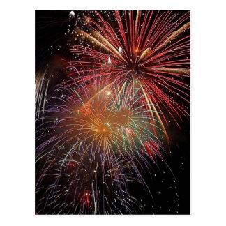 Colorful Fireworks Sparkles Postcard