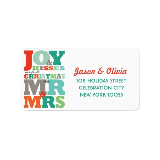 Colorful First Christmas Mr and Mrs Holiday Labels