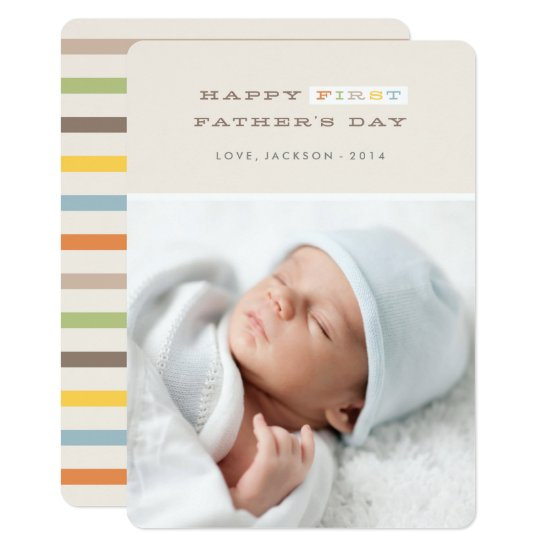 Colorful First Father's Day Card - Mocha