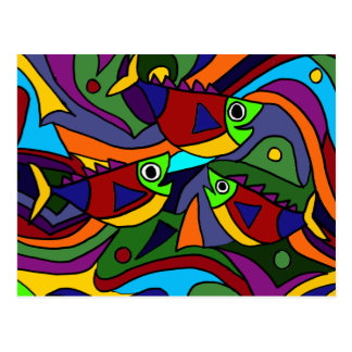 Colorful Fish Abstract Art Design Postcard