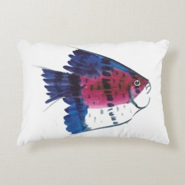 Beach Themed Colorful Fish Accent Pillow