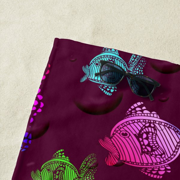 colorful fish beach towel