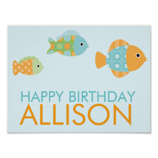 Colorful Fish Birthday Party Welcome Sign Poster