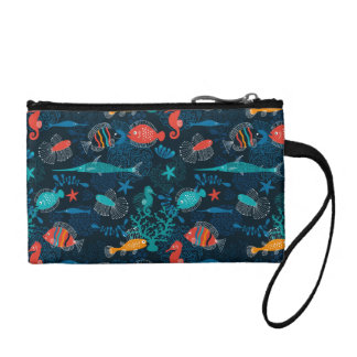 Colorful Fish in Ocean Coin Purses