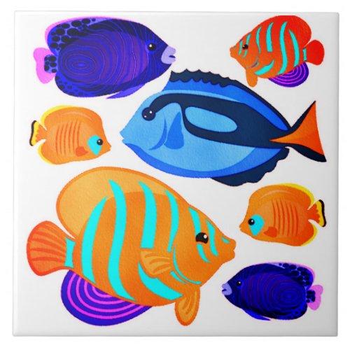 Colorful Fish Pattern Coral Reef Living Seas Ceramic Tile
