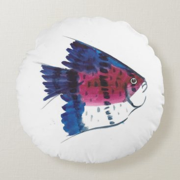 Beach Themed Colorful Fish Round Pillow