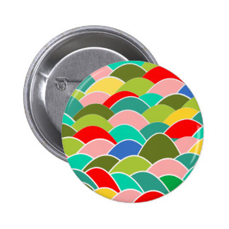 Colorful Fish Scale Pattern Pinback Button