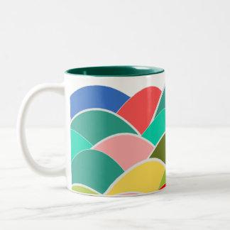 Colorful Fish Scale Pattern Two-Tone Coffee Mug