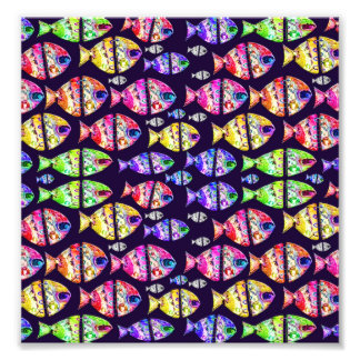 Colorful Fishes Pattern Design Photo Print