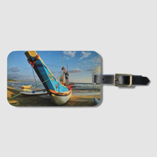 Colorful Fishing Boat By The Ocean Bag Tag