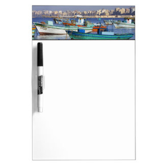 Colorful fishing boats in the Harbor of Dry-Erase Board