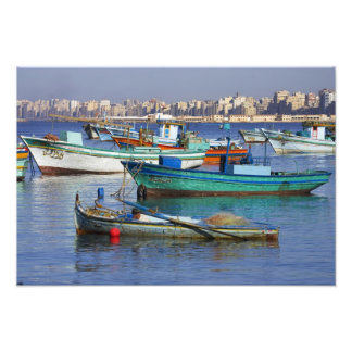 Colorful fishing boats in the Harbor of Photo Print