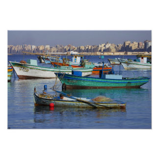 Colorful fishing boats in the Harbor of Poster
