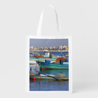Colorful fishing boats in the Harbor of Reusable Grocery Bags