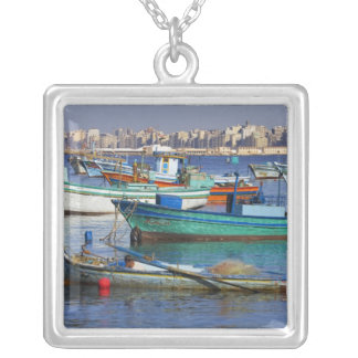 Colorful fishing boats in the Harbor of Silver Plated Necklace
