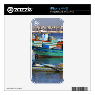 Colorful fishing boats in the Harbor of Decals For iPhone 4S