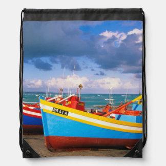 Colorful Fishing Boats On Beach, Arniston Drawstring Bag