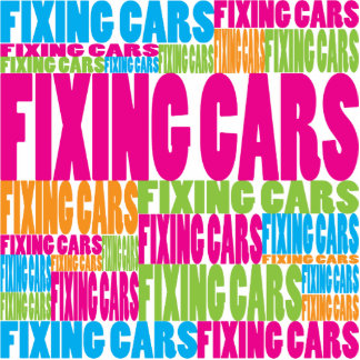Colorful Fixing Cars Photo Sculpture Ornament