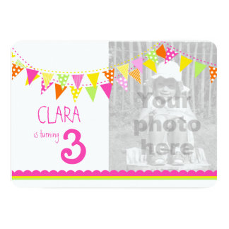 Colorful flags girls 3rd birthday party invite