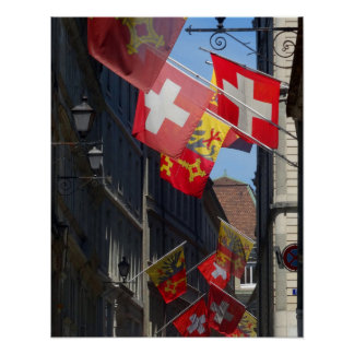Colorful Flags in Geneva, Switzerland Poster