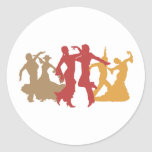 Colorful Flamenco Dancers Round Stickers