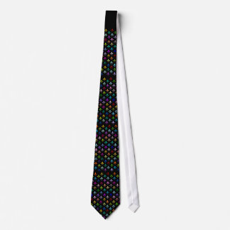 Colorful fleur de lis pattern on black neck tie