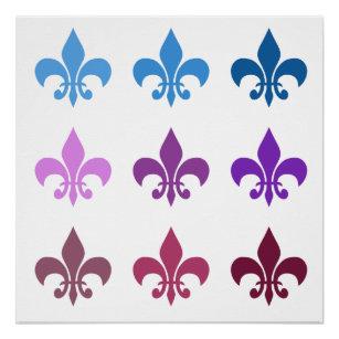 Colorful Fleur De Lis Poster