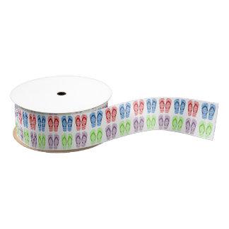 Colorful Flip Flop Pattern Ribbon Grosgrain Ribbon