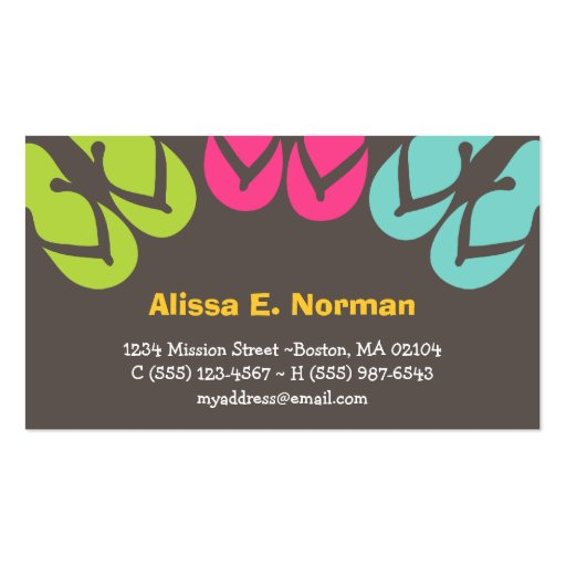 Colorful flip flop sandals tropical personal style business card templates