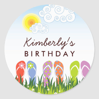 Colorful Flip Flops Fun In The Sun Birthday Party Classic Round Sticker