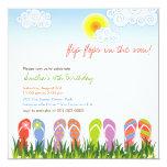 Colorful Flip Flops Fun In The Sun Birthday Party 5.25x5.25 Square Paper Invitation Card