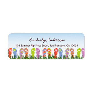 Colorful Flip Flops Fun In The Sun Birthday Party Return Address Label