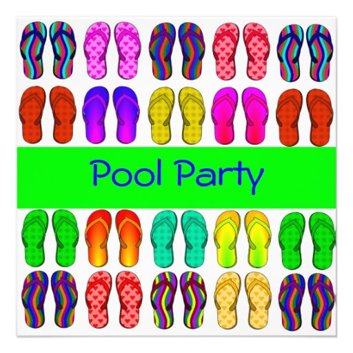 Colorful Flip Flops Pool Party Invitation