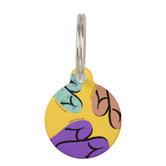 Colorful Flip Flops Print on Goldenrod Yellow Pet Name Tags