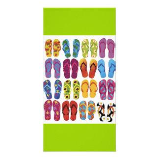 Colorful Flip Flops Vector Set Card