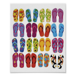 Colorful Flip Flops Vector Set Poster