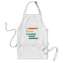 Colorful Flippin', Crazy Awesome Santa's List Adult Apron
