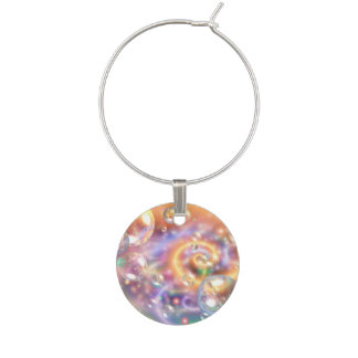 Colorful Floating Orbs Wine Glass Charm