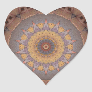 Colorful Floor Tiles Kaleidoscope 7 Heart Sticker