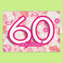 Colorful Floral 60th Birthday Cards