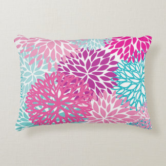 Colorful floral abstract design accent pillow