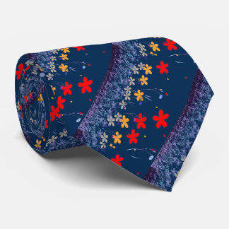 colorful floral abstract design neck tie