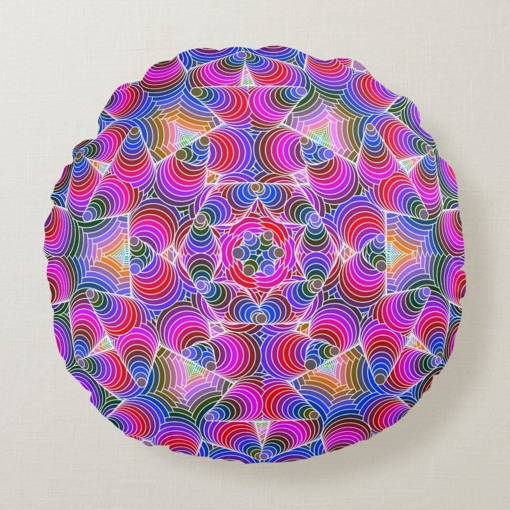 Colorful floral Abstract pattern Round Pillow